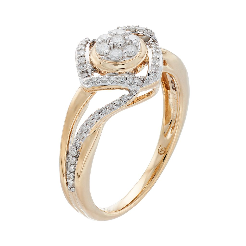 10k Gold 1/3 Carat T.W. Diamond Two Tone Love Knot Ring