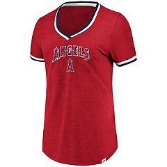 Women's Majestic Los Angeles Angels of Anaheim Stripe Trim Tee