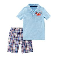 Baby Boy Carter's Crab Pocket Polo & Plaid Shorts Set