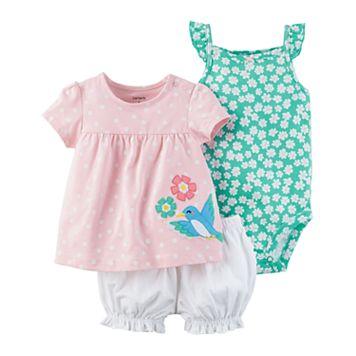 Baby Girl Carter's Birdie Diaper Cover Set