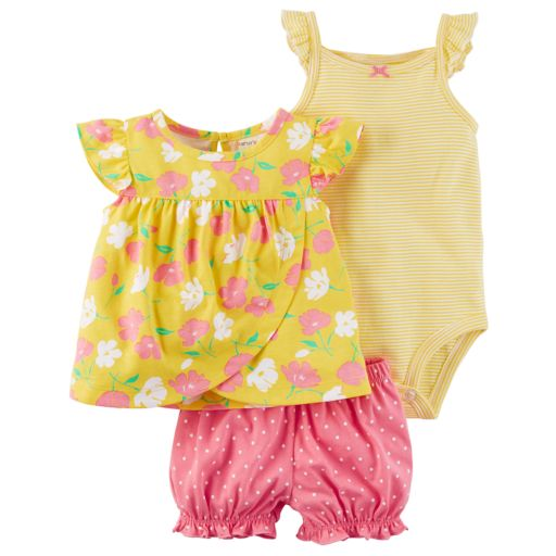 Baby Girl Carter's 3-piece Floral Diaper Cover Set