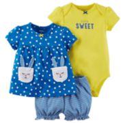 Baby Girl Carter's Bunny Diaper Cover Set
