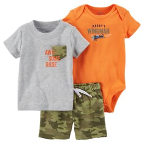 """Baby Boy Carter's """"Awesome Dude"""" 3-pc. Diaper Cover Set"""
