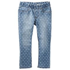 Girls 4-12 OshKosh B'gosh® Polka-Dot Pull-On Denim Pants