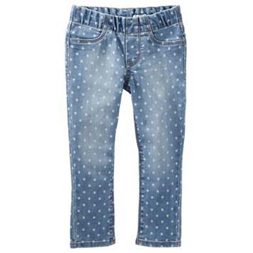 Girls 4-12 OshKosh B'gosh® Polka-Dot Pull-On Denim Pants