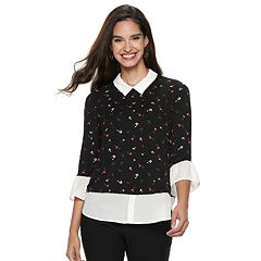Women's ELLE™ Printed Mock-Layer Top
