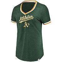 Women's Majestic Oakland Athletics Stripe Trim Tee