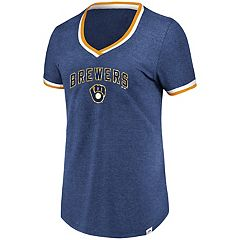 Women's Majestic Milwaukee Brewers Giants Stripe Trim Tee