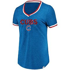 Women's Majestic Chicago Cubs Stripe Trim Tee