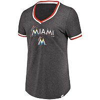 Women's Majestic Miami Marlins Stripe Trim Tee