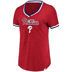 Women's Majestic Philadelphia Phillies Stripe Trim Tee