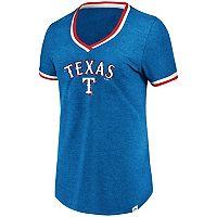 Women's Majestic Texas Rangers Stripe Trim Tee
