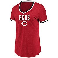 Women's Majestic Cincinnati Reds Stripe Trim Tee