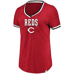 Women's Majestic Cincinnati Reds Stripe Trim Tee