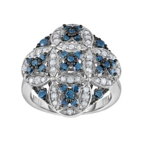 Sterling Silver 1 Carat T.W. Blue & White Diamond Cluster Ring