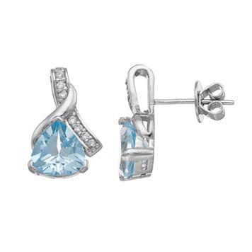 Sterling Silver Sky Blue Topaz & Cubic Zirconia Drop Earrings