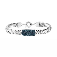 Sterling Silver Blue Diamond Popcorn Chain Bracelet
