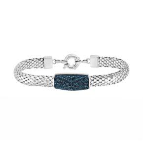 Sterling Silver Blue Diamond Popcorn Chain Bracelet