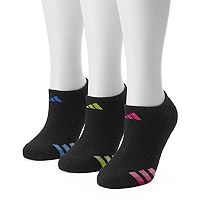 Women's adidas 3 pkDark Striped Superlite No-Show Socks
