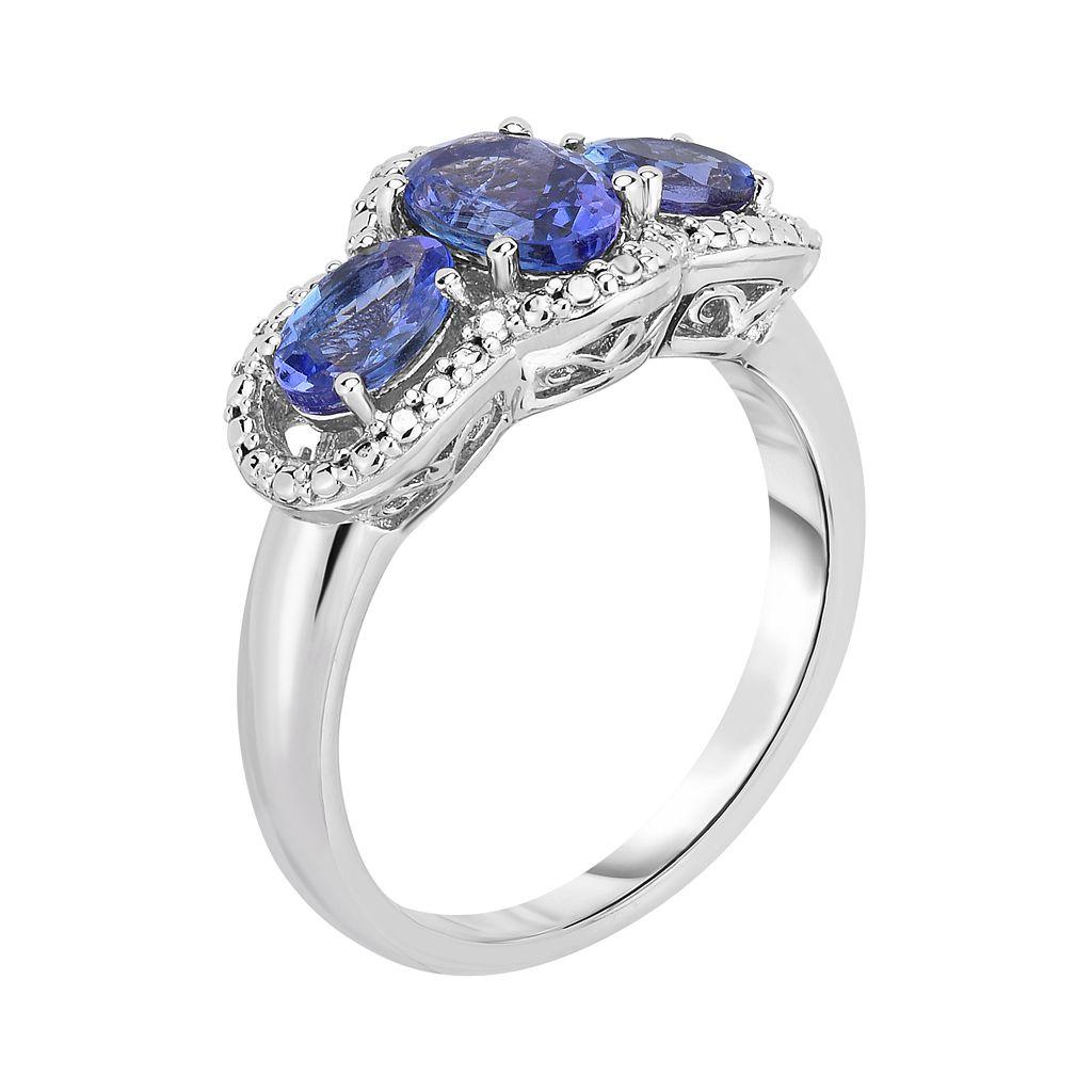 Sterling Silver Tanzanite 3-Stone Ring