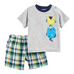 Baby Boy Carter's Fish Tee & Plaid Shorts Set
