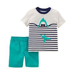 Baby Boy Carter's Shark Striped Top & Shorts Set