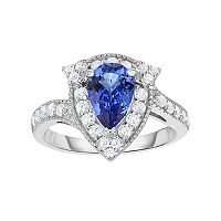 Sterling Silver Tanzanite & White Zircon Teardrop Halo Ring
