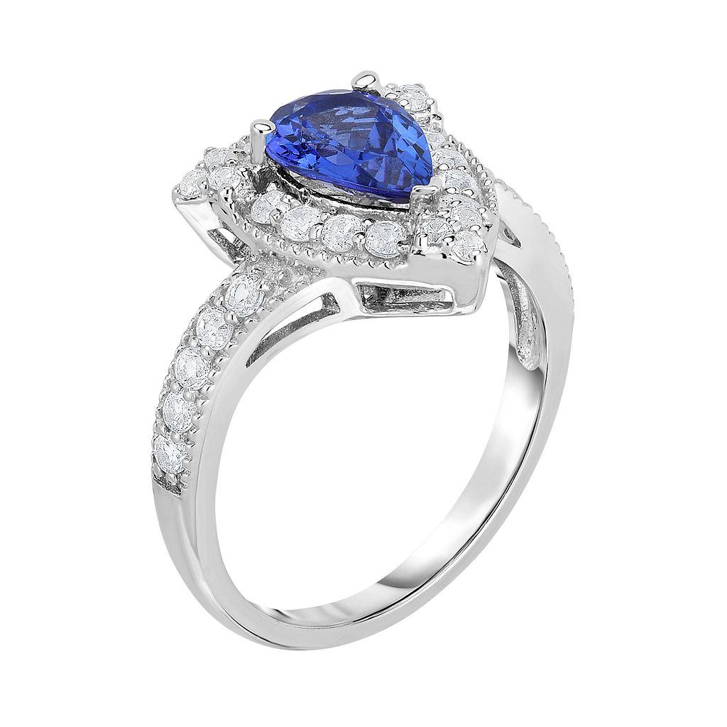 Sterling Silver Tanzanite & White Zircon Teardrop Halo Ring