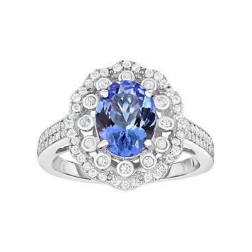 Sterling Silver Tanzanite & White Zircon Oval Halo Ring