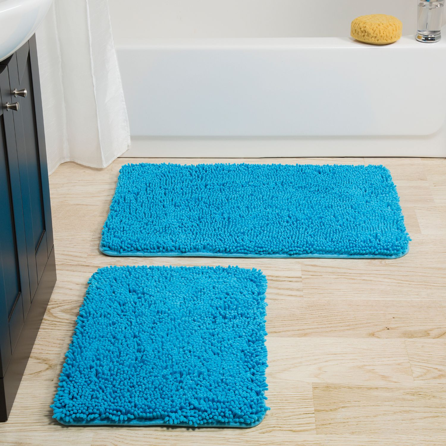 Portsmouth Home 2 Piece Memory Foam Shag Bath Mat
