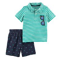Baby Boy Carter's Striped Polo Top & French Terry Shorts Set