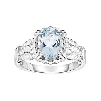Sterling Silver Aquamarine Oval Ring