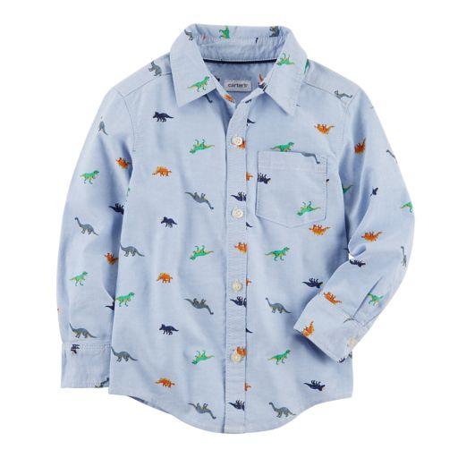 Boys 4-8 Carter's Dinosaur Woven Button Down Shirt