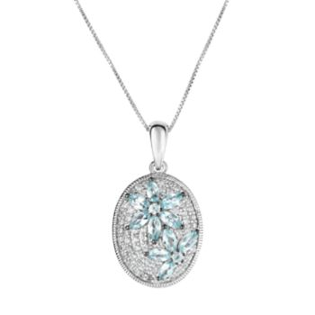 Sterling Silver Apatite & White Zircon Flower Pendant Necklace