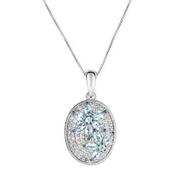 Sterling Silver Apatite & White Zircon Flower Pendant Necklace