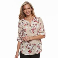 Women's Croft & Barrow® Smocked Printed Top