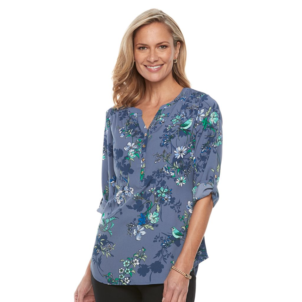 Women's Croft & Barrow® Smocked Printed Top
