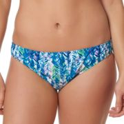 Women's Pink Envelope Palm Leaf Cinch-Back Hipster Bikini Bottoms