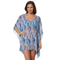 Women's Pink Envelope Palm Leaf Swim Cover-Up