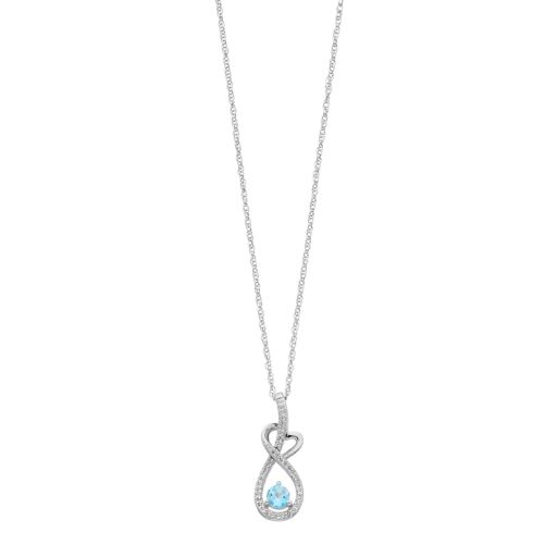 Sterling Silver Blue Topaz & Lab-Created White Sapphire Heart Pendant