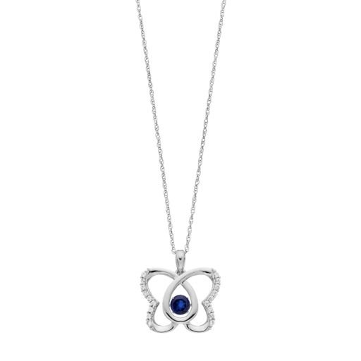 Sterling Silver Lab-Created Blue & White Sapphire Butterfly Pendant