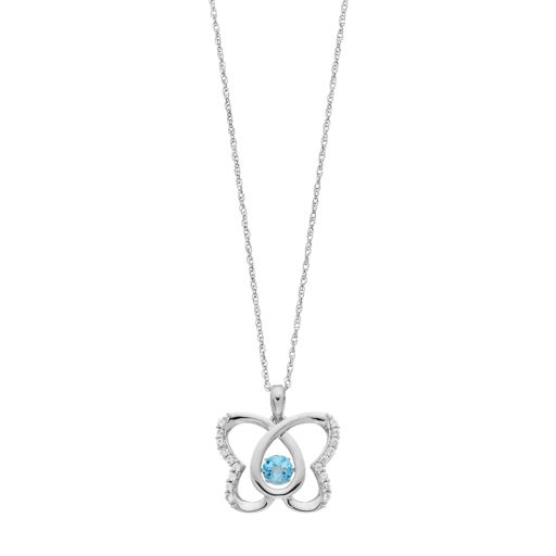 Sterling Silver Blue Topaz & Lab-Created White Sapphire Butterfly Pendant