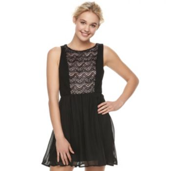 Juniors' Lily Rose Lace Bodice Skater Dress