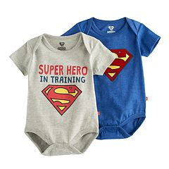 Baby Boy 2-pk. Marvel Super-Man 'Super Hero In Training' Bodysuit Set