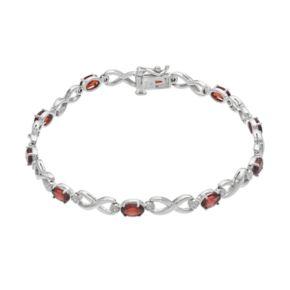 Sterling Silver Garnet Infinity Bracelet