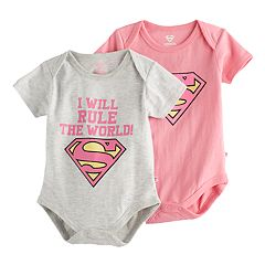 Baby Girl 2-pk. Marvel Super-Man Bodysuit Set