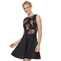 Juniors' Lily Rose Floral Lace Skater Dress