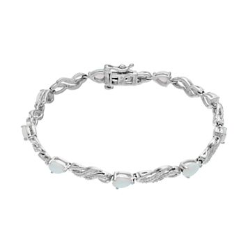 Sterling Silver Lab-Created Opal & White Sapphire Bracelet