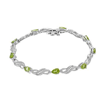 Sterling Silver Peridot & Lab-Created White Sapphire Bracelet
