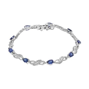 Sterling Silver Lab-Created Blue & White Sapphire Bracelet